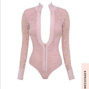 House of CB Pants - House of CB Pink Paraisa Lace Bodysuit